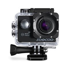 WIFI Action Camera SOOCOO Waterproof Action Camera 12MP Full HD 1080P  20 LCD Screen 170 Wide Angle Lens 30M98ft Underwater Diving Camera with 2 Batteries  Black Memory Card Not Included >>> You can get additional details at the image link.Note:It is affiliate link to Amazon.
