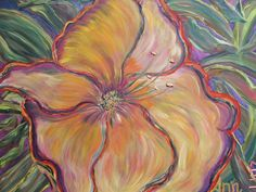 #Colorful #hibiscus #flower #painting by #Ann #Lutz.