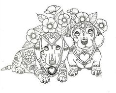 Art of Dachshund Coloring Book Volume van ArtByEddy op Etsy Free Adult Coloring, Dog Coloring Page, Cute Coloring Pages, Animal Coloring Pages, Coloring Books, Coloring Stuff, Dachshund Love, Daschund, Cat Drawing