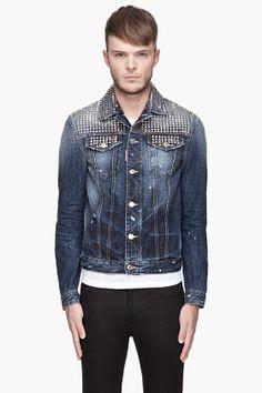 Dsquared2 Blue And Silver Studded Denim Jacket for men | SSENSE