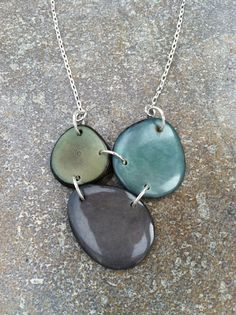 HURRICANE SANDY RELIEF  Tagua Nut Necklace  Teal by SelaDesigns, $25.00