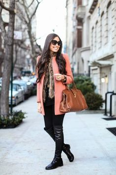shock of coral instantly brightens up those winter blues. Layer a bright coat over a fur vest