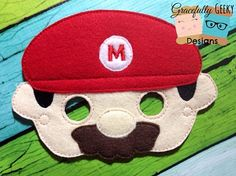 Red Plumber Mask Embroidery Design