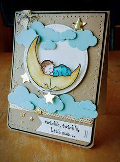 Bonjour mes fidèles abonnées , aujourd'hui un peu de douceur avec le set de tampons » Moon Baby » et quelques réalisations de démonstratrices étrangères. Je reviens d…