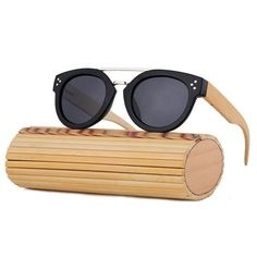fedba989c7 Handmade Round Bamboo Sunglasses Polarized Wood Sunglasses with bamboo arms
