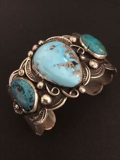 Rare Native American Sterling Silver Turquoise Bracelet Albert Cleveland