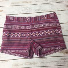 "Raspberry Aztec tribal print summer shorts Tab waist. Hidden side pockets & rear inside pockets. Cotton/polyester. 35"" waist, 3"" inseam. Size 12. EUC Merona Shorts"