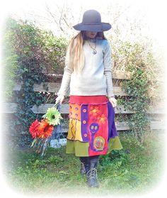 Quirky Rainbow Skirt Upcycled Stretch Flared Cute Snail Recycled Hippie Bohemian Gypsy Folk Eco Friendly Wearable Art Elastic Waist Medium