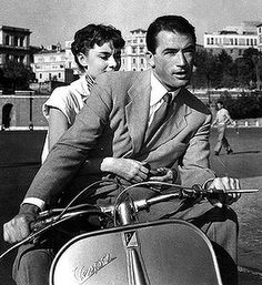 Gregory Peck driving a Vespa- Roman Holiday