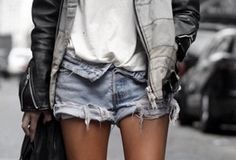 jeans, leather and sweat shirt.