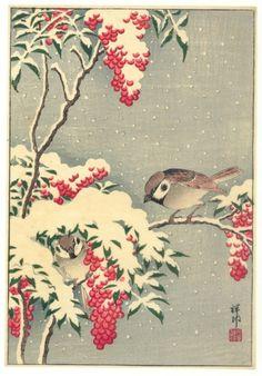 Ohara Koson ( Sparrow in Nandin Bush)