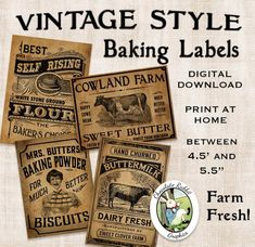 Vintage Kitchen Baking Labels Prim Primitive by chocolaterabbit Primitive Labels, Primitive Kitchen, Primitive Crafts, Country Primitive, Primitive Patterns, Country Kitchen, Kitchen Labels, Pantry Labels, Jar Labels