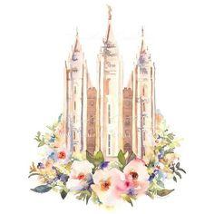 Salt Lake Temple Colors of Autumn - LDS Temple Pictures Mormon Temples, Lds Temples, Arte Lds, Floral Watercolor, Watercolor Paintings, Temple Pictures, Lds Pictures, Inspiring Pictures, Salt Lake Temple