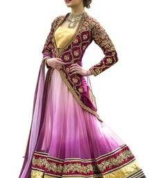 Buy Lovely Purple Embroidered Net Wedding Circular Lehenga Choli With Blouse bridal-lehenga online