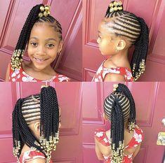 African Hairstyles For Kids, Toddler Braided Hairstyles, Little Girl Braid Hairstyles, Little Girl Braids, Baby Girl Hairstyles, Braided Hairstyles For Black Women, Braids For Kids, Braids For Black Hair, Girls Braids