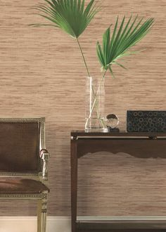 Grasscloth look rust wallpaper Look Wallpaper, Wallpaper Grasscloth, Hertex Fabrics, Fabric Suppliers, Room Set, Home Decor Inspiration, Fabric Design, Floral Arrangements, Beauty