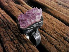 Druzy Raw Amethyst Crystal Huge  Druzy Geode Amethyst Purple Violet Stone Amethyst Jewelry  Amethyst Ring Tiffany Method  Boho Gypsy by GepArtJewellery on Etsy