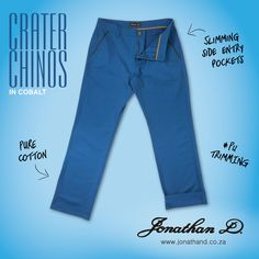 Made from cotton, Jonathan D's Crater Chinos feature slimming side entry pockets with PU trim detailing. Available in brick, camel, cobalt and rust colourways. Summer 2014, Cobalt, Rust, Camel, Mom Jeans, Brick, Slim, Pockets, Pure Products