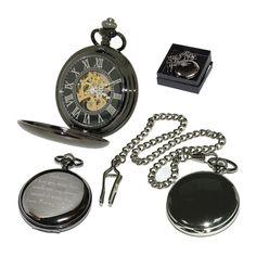 Black Personalised Skeleton Pocket Watch Custom Engraved Gift for Him Bestman, Usher, Groom, Father, Husband. Birthday, Wedding, Anniversary on Etsy, $49.93 CAD