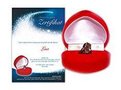 Echte Sternschnuppe in roter Herzbox ✪ inkl. persönlichem Widmungszertifikat mit Deinem Wunschtext | als romantisches Valentinstagsgeschenk