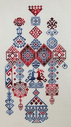 Blue plus red work. Turkish cross stitch.