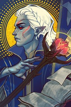 "armentarius: ""Vegra tarot by my lovely "" Character Concept, Character Art, Character Design, Dnd Characters, Fantasy Characters, Skyrim Fanart, Dragon Age Tarot Cards, Tes Skyrim, Elder Scrolls Skyrim"