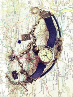Love this Vintage Travel Watch Bracelet from Gifts Papemelroti is located at the Upper Ground floor of SM City Manila Diy Arts And Crafts, Manila, Vintage Travel, Ground Floor, Giveaways, Pocket Watch, Embellishments, Bracelet Watch, Watches
