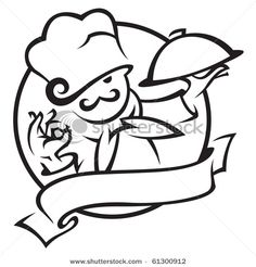 Vector Outlined Friendly Chef Stock Illustration
