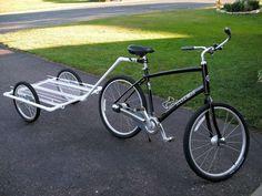 Cassio, fazer um deste para levar as crianças pra passear! PVC Bike trailer. Biking to camping