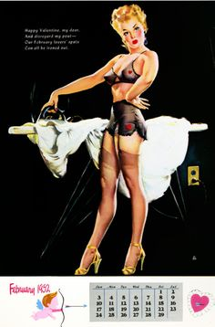 Valentine pin up calendar art by Gil Elvgren, 1952.