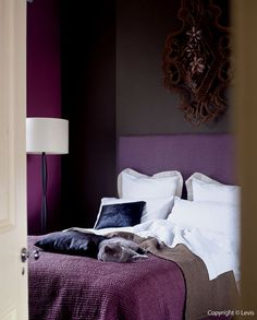 Infuse your bedroom with Violet Surprise 1, Brooklyn Nights 1, Damson Dream 3 for that perfect passionate colour combo. Love it? Let us know. #DuluxDecor #purple