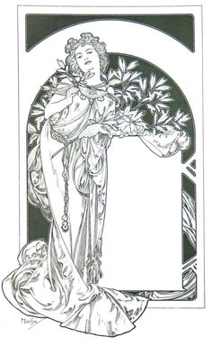 Alfons Mucha coloring page from the Mucha Foundation webpage. Again, pay attention to the lines.