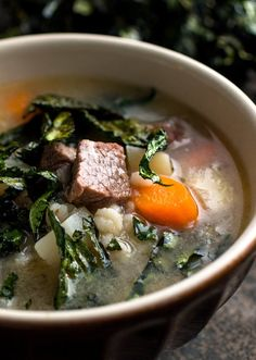 Recipe: Brisket Barley Soup with Crispy Kale || Photo: Andrew Scrivani for The New York Times