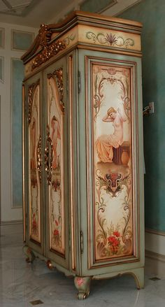hand-painted 'french armoire' with goldleaf gilding, panels featuring bathing fi. - hand-painted 'french armoire' with goldleaf gilding, panels featuring bathing figures produced - Decoupage Furniture, Hand Painted Furniture, Funky Furniture, French Furniture, Paint Furniture, Unique Furniture, Shabby Chic Furniture, Furniture Makeover, Vintage Furniture