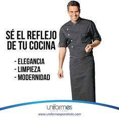 Destácate por ser un chef que refleja con su uniforme su buen trabajo adentro y afuera de la cocina. #Chef #Restaurante #Diseño #Modernidad #Uniforme #UniformesParaTodo   www.uniformesparatodo.com