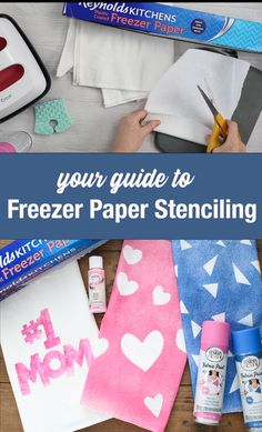 Learn all about freezer paper stenciling and how to make these cute tea towels for Mother's Day! This is so easy that kids can do it too! Freezer Paper Crafts, Freezer Paper Stenciling, Easy Diy Crafts, Crafts To Sell, Diy For Teens, Diy For Kids, Stencils For Kids, Mothers Day Crafts For Kids, Towel Crafts