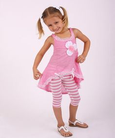 Love this Pink & White Ruffle Hi-Low Tunic & Leggings - Toddler & Girls by Mia Belle Baby on #zulily! #zulilyfinds