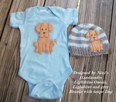 Colors: Light blue Bodysuit with Grey and light blue Hat and Tan Dog applique This Hat was knitted in an smoke free environment. MY ITEMS Are Available For WHOLESALE For Individual Retailers. Please C