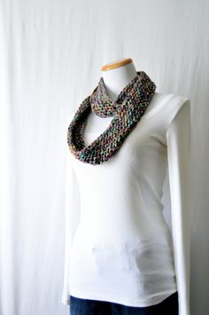 Long Knitted Circle Scarf / Multicolored / Wool Blend / Loop Scarf / Hand Knit / Textured Scarf / Circle Scarf / Cowl / Scarf by HanksAndNeedles on Etsy https://www.etsy.com/listing/226319268/long-knitted-circle-scarf-multicolored