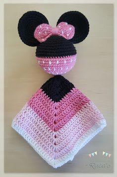 Patrón Mantita de Apego amigurumi Mickey / Minnie Mouse