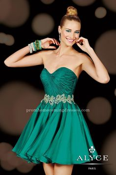 Alyce Paris 3626 Teal Sweetheart Green Cocktail Dresses