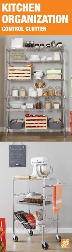 Simple wire shelving can be the perfect storage solution for a small kitchen pantry. #organize #solutions