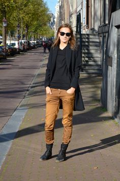 Camel pants and black boots, tshirt and coat. New basic.