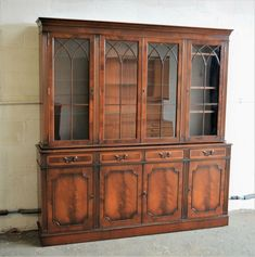 Large Antique Repro Library Bookcase Display Cabinet Dresser Delivery Available