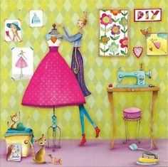 Mila Marquis Collection | Détails sur Postkarte 140x140mm Mila Marquis * Frau näht ein Kleid ...