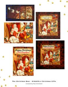 Celebrating the art of children's book illustrator, Paul Stickland. Taken from the best selling children's Christmas book, The Christmas Bear, follow the adventures of little polar bear, as he gets a guided tour of the Christmas Workshops by Father Christmas, Santa Claus himself. Great unique and cool christmas gifts for kids. ♥ Pinnable image courtesy @ohsoprettypaper ♥ Repinned by Annie @ www.perfectpostage.com