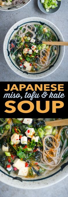 This Japanese miso, kale and tofu soup with buckwheat soba noodles is healthy, tasty, gluten free and ready in 10 minutes.