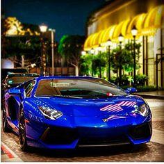 Shining blue Lamborghini Aventador!
