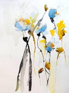 """Saatchi Art Artist Karin Johannesson; Painting, """"Blue Flowers II"""" #art"""