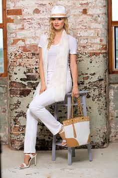 Pia Rossini Nautical Stripe Summer Amaryllis Scarf, Paper Straw Levanto Panama & Bag
